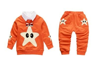 Infant Baby Boys Clothes Spring Fashion Toddler Bow Tie Cotton Stars Outfits Set