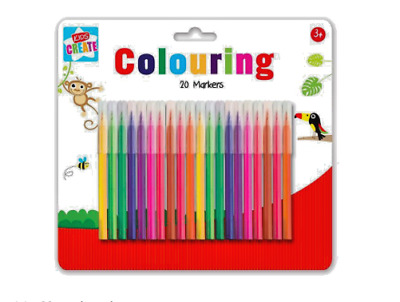 20 Colouring Brush Markers Kids Children Art Craft Decoration Painting Drawing