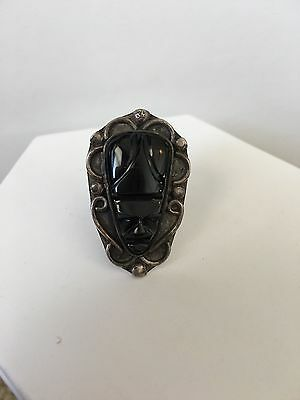 Vintage Aztec Mayan Mexican Handcarved Black Onyx Mask Ring