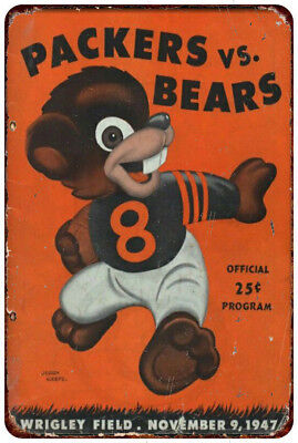 1947 Green Bay Packers Vs Chicago Bears Vintage Reproduction Metal Sign 8 x 12