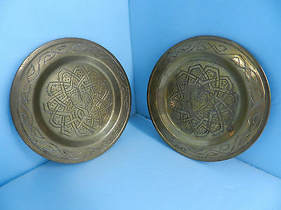 2ea VINTAGE Solid Brass Hammered Decorative Coasters~Ornamental Art~ Very nice !