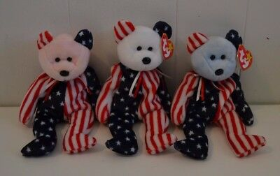 Lot of 3 SPANGLE Red/White/Blue Beanie Baby Bear Collectible Plush Beanbag Toy