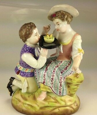 """Antique 1875 Early Mark Sitzendorf Porcelain Figurine """" Young Lovers"""""""
