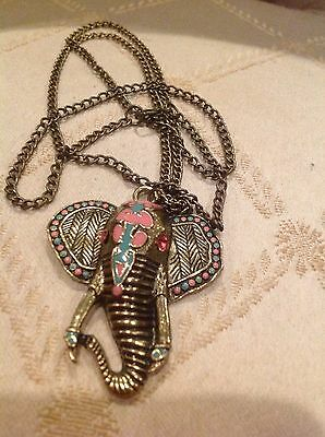 Vintage Enameled Elephant Head Pendant With Brass Chain