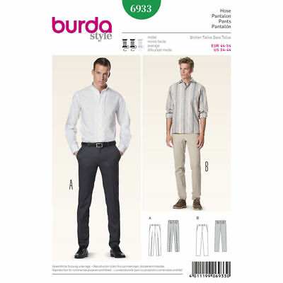 Burda 6933 SEWING PATTERN Men's Fitted Pants Trousers Formal Slacks 34-44