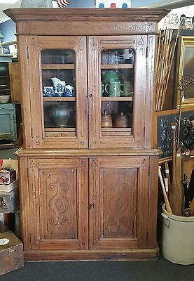 ANTIQUE 19TH CENTURY FRENCH COUNTRY STEPBACK CUPBOARD CABINET w/ Original keys