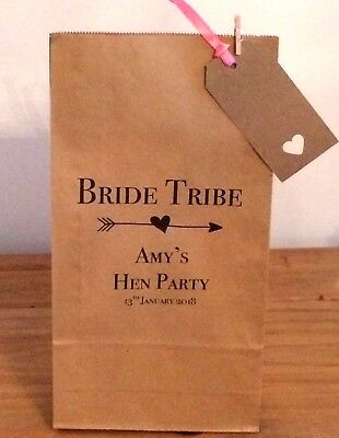 Personalised Paper Hen Night  Favour Bags/ Wedding/Hen/Gift/Party & Ribbon