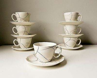 Mid Century Cups and Saucers Set of 7 White with Black Dribbles Carrara Modern C