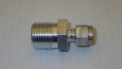 """Parker Ref# S-400-1-8 Steel Male Connector 1/4"""" Od Tube X 1/2"""" Npt Nnb"""
