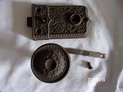 Antique Cast Iron Rim Lock Knob Ornate Eastlake Victorian Screen Door Latch