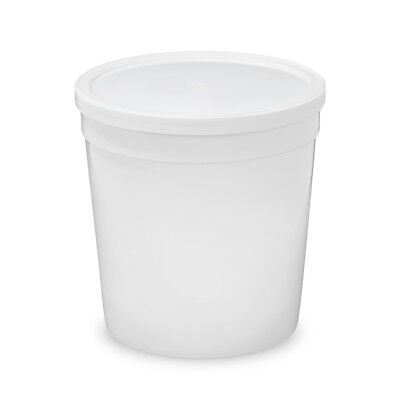 1/4 Gallon 32 oz. Food Grade Round Container w Lid White Single Seal Lid 10 Pack