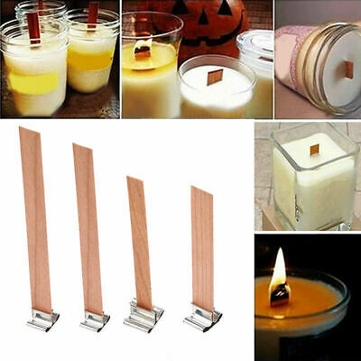US 10Pcs Wooden Wick Candle Core Handmade Candle Sustainers Tab DIY Making Tool