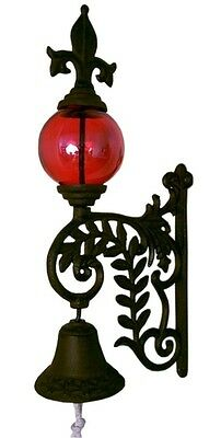 Cast Iron Fleur De Lis Victorian Style Dinner Bell With Red Glass Gazing Ball