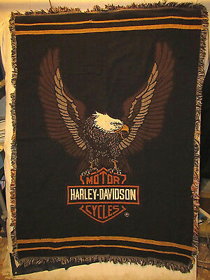 VINTAGE HARLEY DAVIDSON Throw Blanket 40 X 40 Fringed Edges Custom Harley Davidson Blankets And Throws