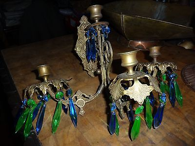Vintage Brass / Blue,Green,Crystal 4,Candle Sconce
