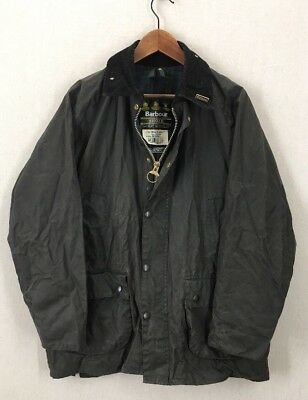 Men's Barbour A104 Bedale Black Wax Cotton Oilskin Jacket Sz Large England