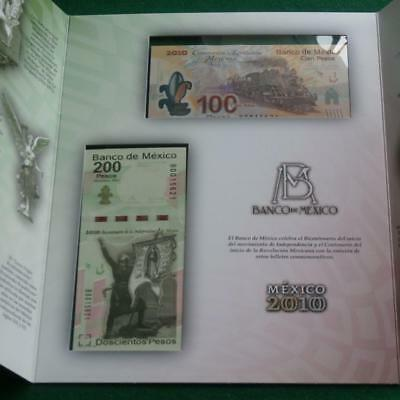 2010 MEXICO SET w Brochure 100 & 200 Bank notes  same serial number both Crisp