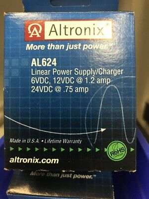 AL624 Linear Power Supply Charger Altronix 6VDC 12VDC @ 1.2 amp 24VDC @ .75 amp