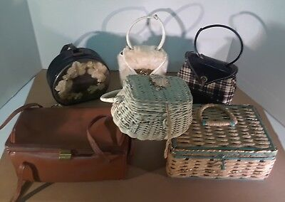 Lot of 6 Vintage Women's Hand clutch, Wicker,leather, Clothe