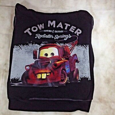 Disney Store Cars Tow Mater Black Hooded Sweatshirt Size Large