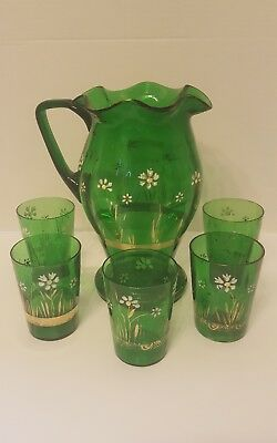 Victorian Emerald Green Hand Painted Lemonade Water Juice Pitcher & Tumbler set