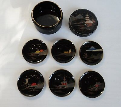 Japanese Lacquer Wood Coaster Set - All Hand Painted 6 Coasters + box