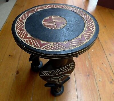 African Fertility Goddess Motif Small Table  Hand Carved & Painted Wooden