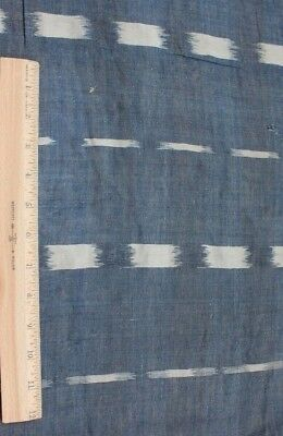 Antique Late 18thC-Early 19thC Old French Indigo Ikat Hand Woven Flammé Fabric
