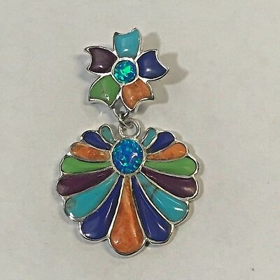 Sterling Silver Inlay Stone Two Piece Flower Turquoise Opal Sponge Coal Pendant