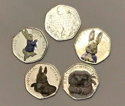 Peter Rabbit 50p pence coins set FIVE colour Beatrix Potter coins Collector gift