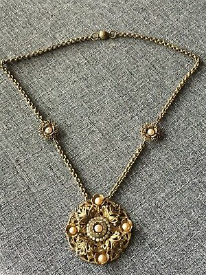 Vintage Art Deco 1920's Filigree Faux Pearl Paste Rhinestone Necklace