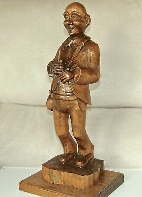 """Vintage Wooden Hand Carving of Banker Rich Man  - 16"""" tall - by Russell Beckwith"""