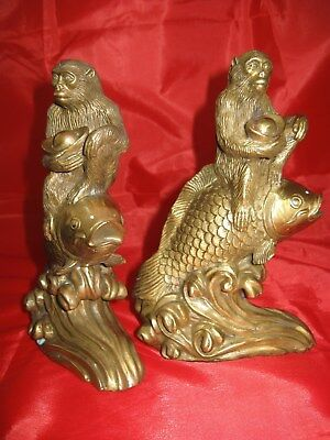 Vintage Brass Monkeys Riding Fish Figural Bookends, Old Unusual Pair