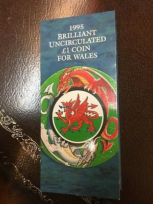 1995 Brilliant Uncirculated £1 Coin for Wales -Red Dragon 1 Pound Coin in Folder