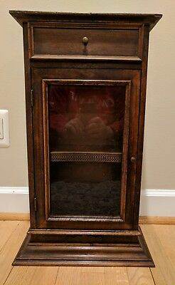 Vintage wood curio cabinet wall tabletop display case for miniatures.Good shape