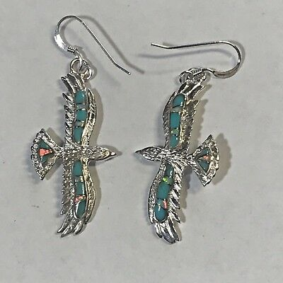 Sterling Silver Inlay Stone Turquoise Opal Onyx Lapis Flying Eagle Hook Earrings