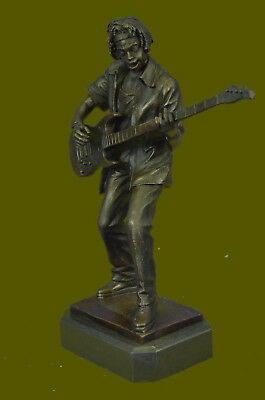 Hand MadeOriginal Dwight Black Guitar Player signed Bronze Sculpture Figurine