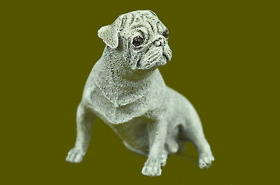 Hand Made BRONZE PUG BULL DOG GREAT PAINT & PATINA SIGNED MILO ESTATE FIND Deco