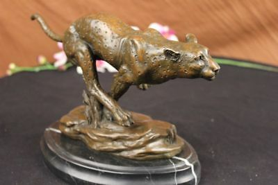 Hand Made Cheetah Bronze Figure Marble Statue Deco Set Figurine