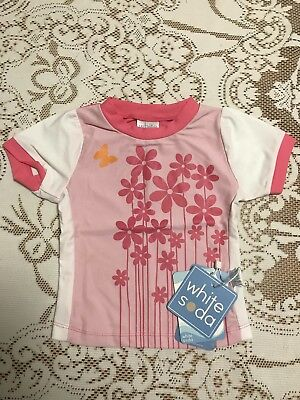 White Soda Infant/Baby Rashie Floral Butterfly Sun Shirt Size 1