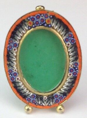 Vintage Italian Micro Mosaic Brass Easel Back Oval Orange Blue Mini Photo Frame