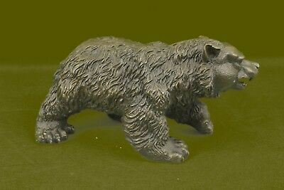 Hand Made Kodiak Black Bear Family Wildlife Cabin Lodge Bronze Marble Statue UG