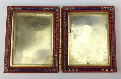 Vintage/Antique Double Folding Italian Micro Mosaic Brass Picture Photo Frame