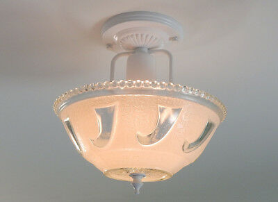 Center Post War Era Ceiling Light with Vintage Glass Shade and New Fixture
