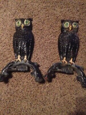 Antique Vintage Pair Cast Iron Owl Fireplace Andirons Decorative Front Only