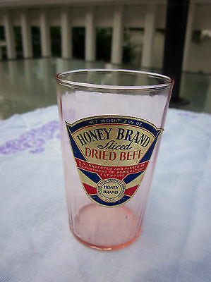 Pink Depression Glass Tumbler Advertising Honey Brand Sliced Beef Promo Cup Foil