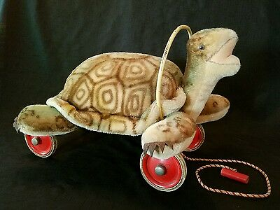 Vtg 1950's Rare Hard to Find Childs Steiff Turtle Ride-On Wheels Pull Toy-Button