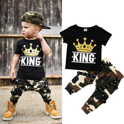 AU Stock Toddler Kids Baby Boys Tops T-shirt Camo Pants Outfits Set Clothes 0-5Y