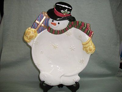 Fitz & Floyd Hand Crafted Snowman Serving Dish Bowl or Potpourri