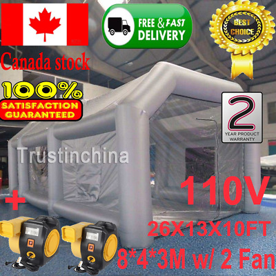 Inflatable Giant Grey Car Workstation Spray Air Paint Booth Tent 8*4*3M w/ 2 Fan